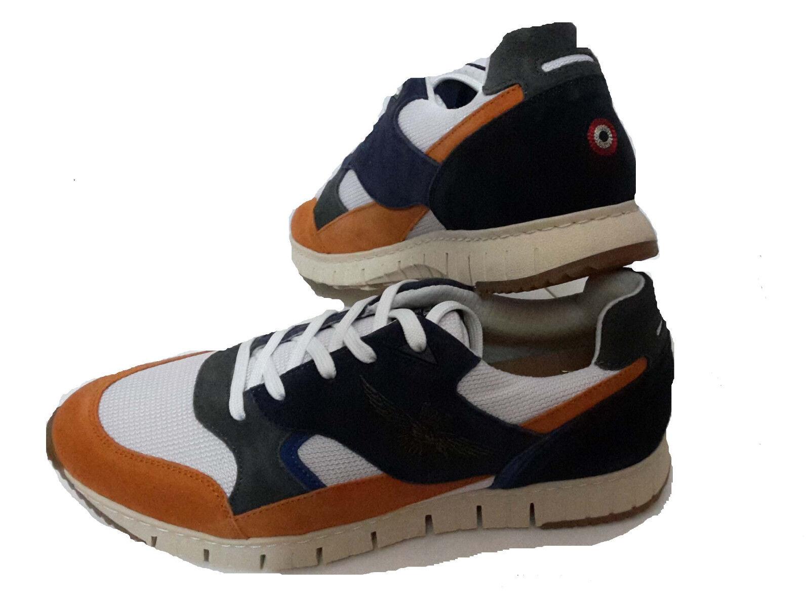 Scarpe casual da uomo  SCARPE SNEAKERS AERONAUTICA MILITARE SC140CT arancione blu shoes estate18