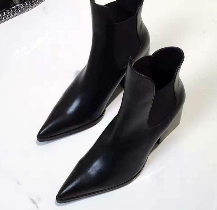 Women's Casual Leather Pointy Toe Chunky Heel Pull On shoes Short Ankle Boots