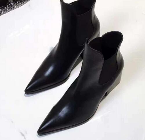 pointu tirer chaussures en des Les bottines cuir bout chic sur talon pompes bloc a femmes noires wXT8wxqU