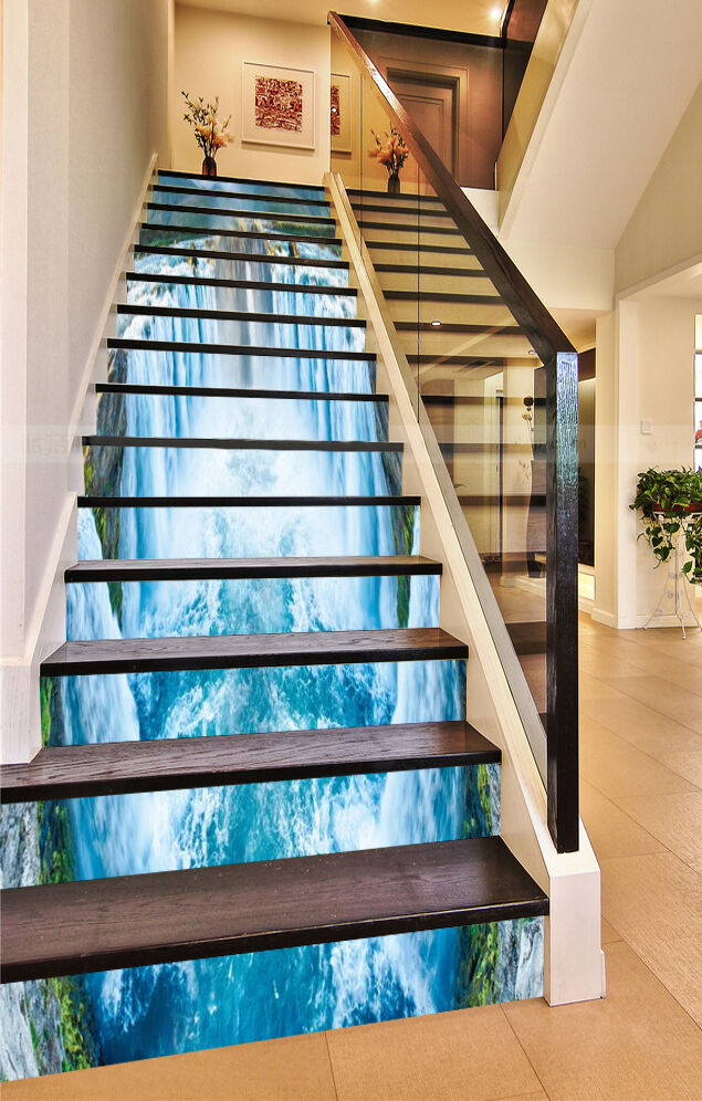 3D Waterfall Bule 4 Stair Risers Decoration Photo Mural Vinyl Decal Wallpaper CA