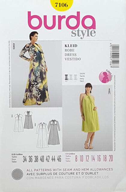 83dc6d4a2 Burda Sewing Pattern 7106 Misses Maternity Dress Size 8-20 for sale ...