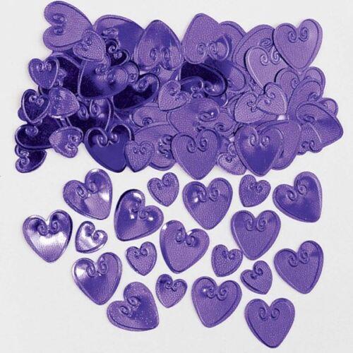 En Relief Métallique Violet Amour Coeur Confettis Fête Décoration de table st-valentin