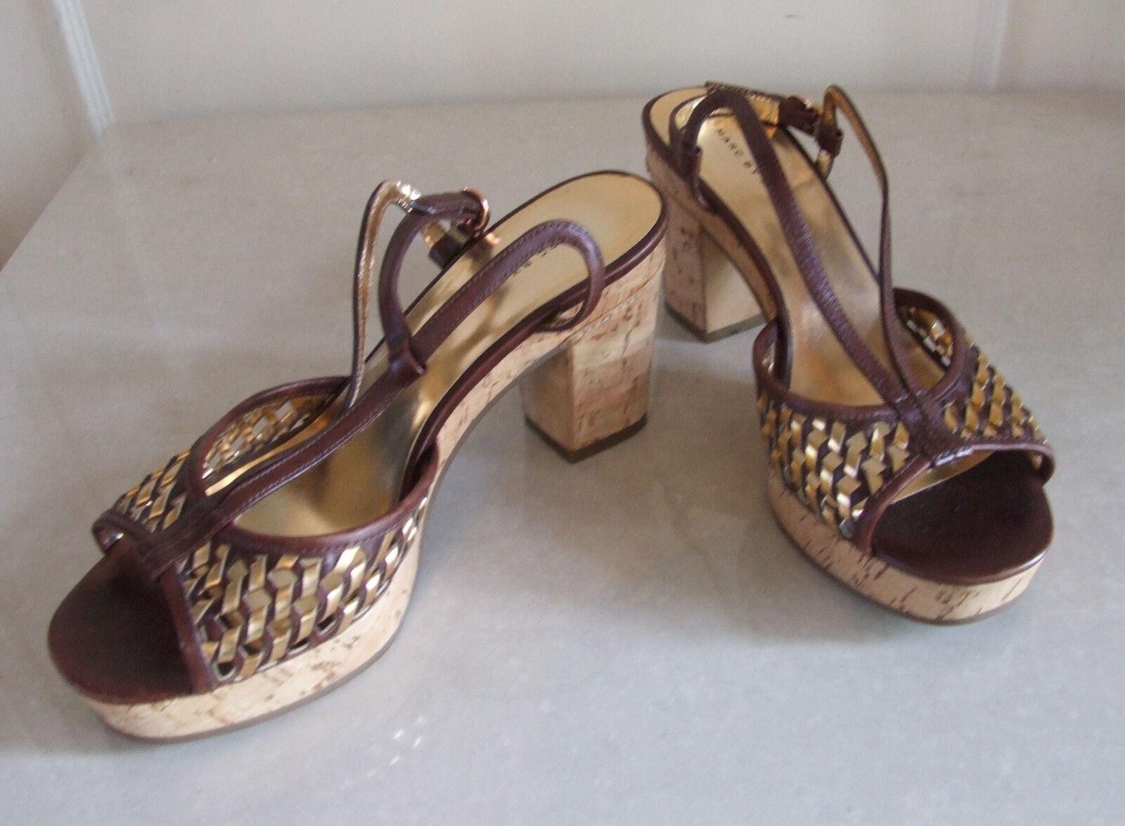 Marc Jacobs Stunning braun &Gold Wicker Heels Slingback Sandals schuhe EU36 UK3.5