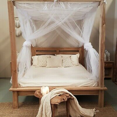 Canopy Bed.Canopy Tulle Mosquito Net For Four Poster Bed King Queen Ebay