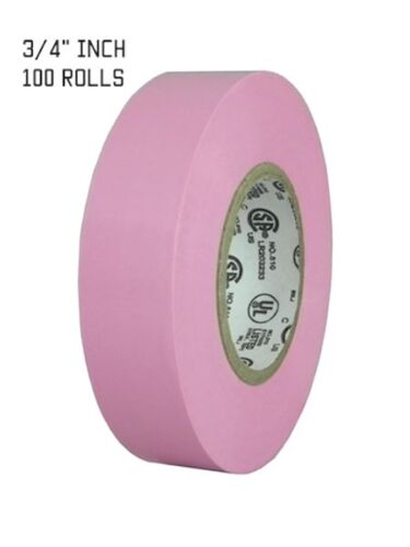 TapesSupply 100 ROLLS PINK ELECTRICAL TAPE 3/4 X 66 FT (FULL CASE)