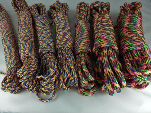 PINK 4mm Buntes Seil 0,18€-0,50€//m Regenbogenfarben Paracord Hippie Leine