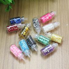 12x Mini Bottle 1mm Round Glitter Paillette Acrylic UV Gel Nail Polish Tips