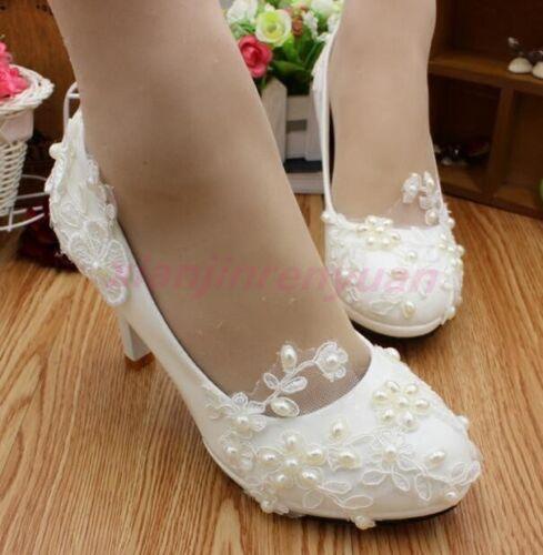Fashion Womens Shoes Pearls Block Heel Flower Wedding Dress Bridal Lace Pumps