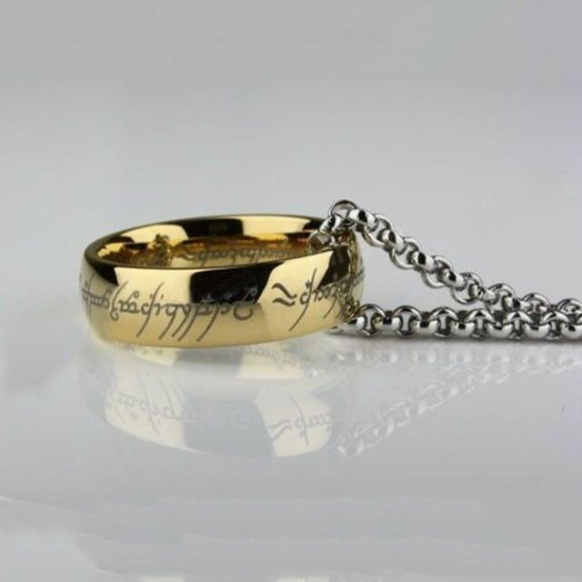 The One Ring Stainless Steel Lord of the Rings Bilbo's Hobbit Gold Ring & Chain
