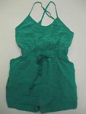 WILFRED #DR222 Women's Size M 100% Silk Spaghetti Strap Green Romper Shorts