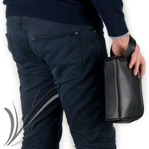 Pochette uomo da polso borsello a mano beautycase marsupio da ragazzo per chiavi
