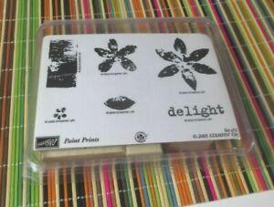 2005 Stampin Up Paint Prints Set Of 6 Wood Rubber Stampin Set Crafts Free USA Shipping
