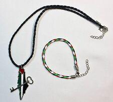 Lot of 2: Palestine (Map - Key) Necklace & Braided Palestine Flag Bracelet # 17