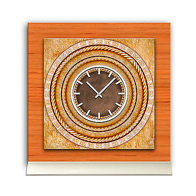 Tischuhr 30cmx30cm Inkl. Alu-ständer -antikes Design Rosette Geräuschloses Quar Modern Und Elegant In Mode
