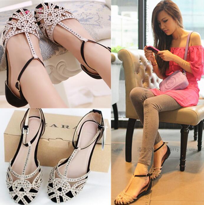 Womens Roman Sandals Rhinestone Hollow T-Strappy Gladiator Flat shoes Round Toe