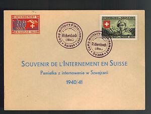 1940-Rickenbach-Switzerland-Polish-Internment-Camp-Postcard-Souvenir-Cover
