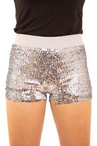 Damen Hotpants mit Pailletten und elastischem Bund Silber Panty kurze Hose Short