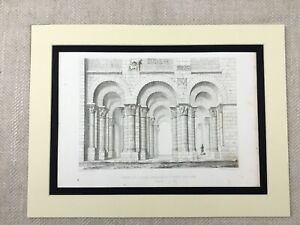 1857-Architectural-Engraving-Antique-Print-St-Benoit-Abbey-Cathedral-France