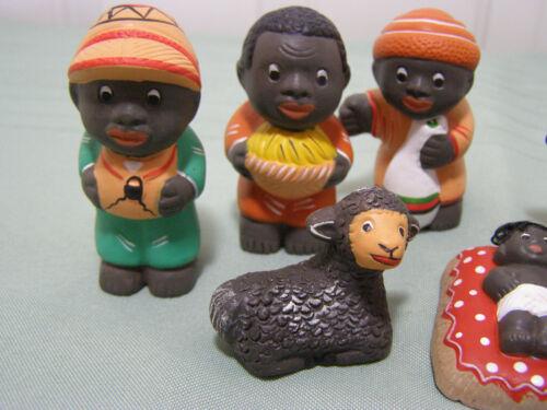 Handmade 2.5 inch 8PC African American Black Nativity set from Peru