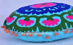 Indian-Uzbek-Suzani-Cushion-Cover-Ethnic-Embroidered-Pillow-Case-Round-Pillows