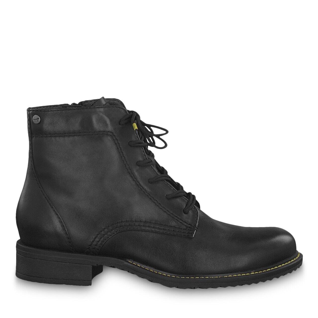 Tamaris 1-1-25210-23 001 Schuhe Damen Leder Stiefeletten SchnürStiefel schwarz