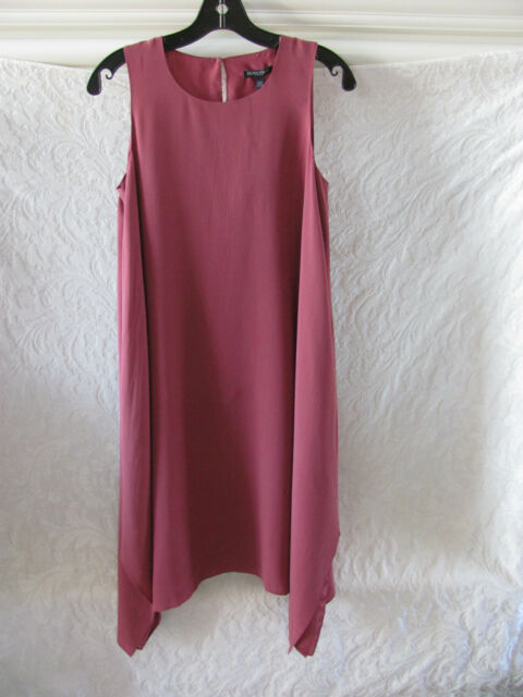 cc1b4ee2b2 Eileen Fisher Silk Crepe de Chine Dress-Sharkbite Hem-Rosewood-Size PM-