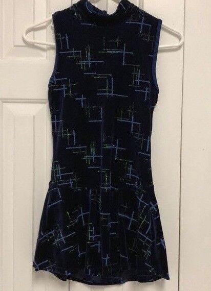 Mondor Womans Figure Skating Dress Size Small bluee Sparkle Sleeveless Keyhole