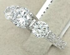 Women's Ladies Solid Real 925 Sterling Silver Journey CZ Bridal Promise Ring