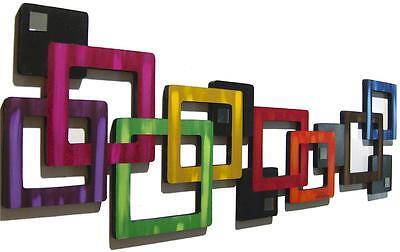 Geometric Square Wall Sculpture Art69 Metal Wall decor 38x37 Wood sculpture