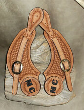 CUSTOM SPUR STRAPS PERSONALIZED WITH YOUR INITIALS, Saddle Tan. G&E