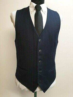 """Cooperativa L762 Da Uomo Blu Scuro Ampia A Righe Pin Smart Formale Suit Panciotto M 38""""-"""