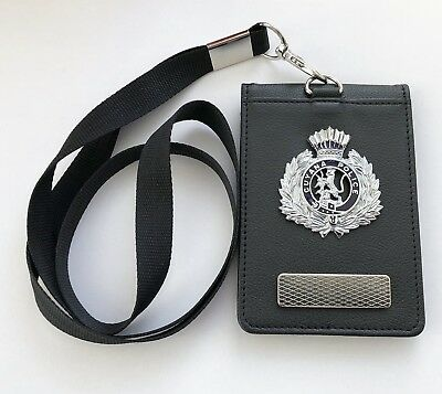 Leather Police Style Warrant Card Wallet Holder With Attached Police Style Badge