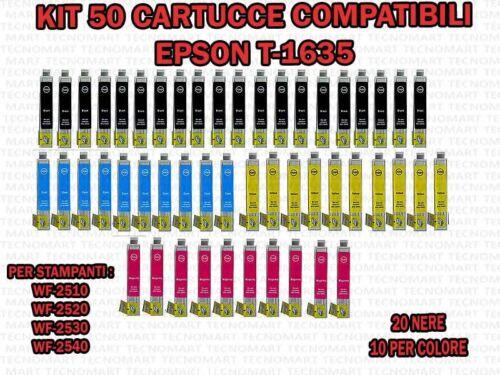 KIT DI 50 CARTUCCE COMPATIBILI EPSON T1635 16 XL WF2510 WF2530 WF2540 WF2520