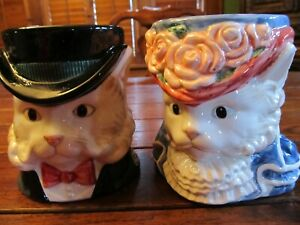 Pair-of-Fitz-amp-Floyd-Victorian-cats-Beautiful-Never-used-5-034-tall