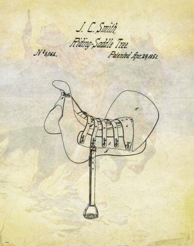 Horse Rodeo Patent Poster Art Print Western Decor Cowboy Saddle Spurs PAT97