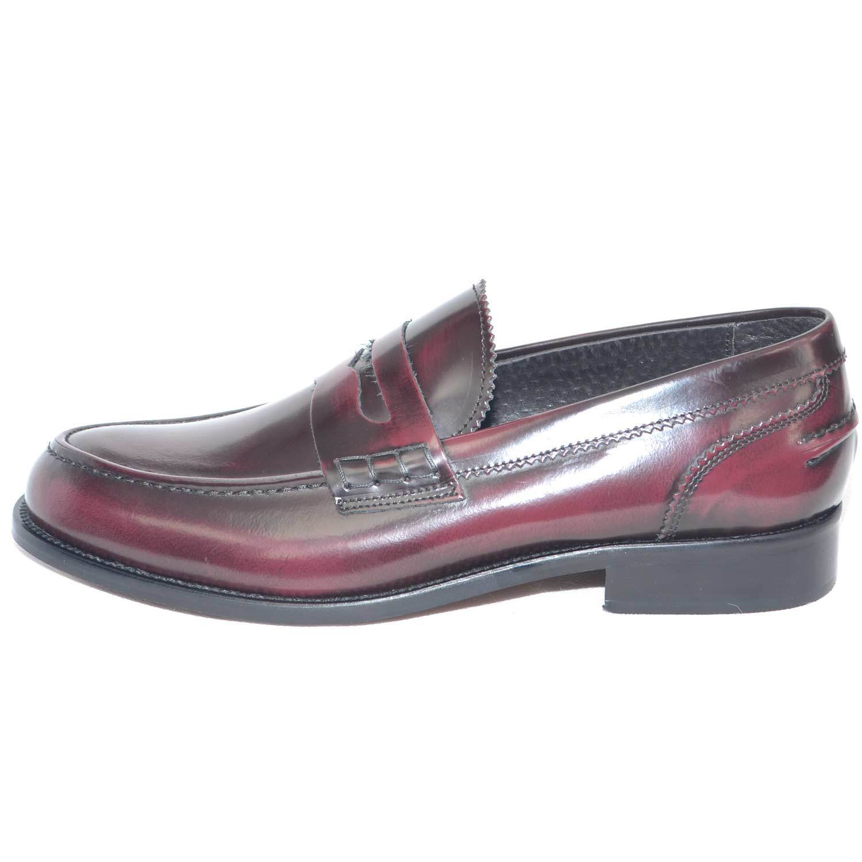 scarpe uomo mocassino college bendina fondo cuoio pelle abrasivato bordeaux spaz Scarpe classiche da uomo