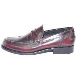 scarpe uomo mocassino college bendina fondo cuoio pelle abrasivato bordeaux spaz