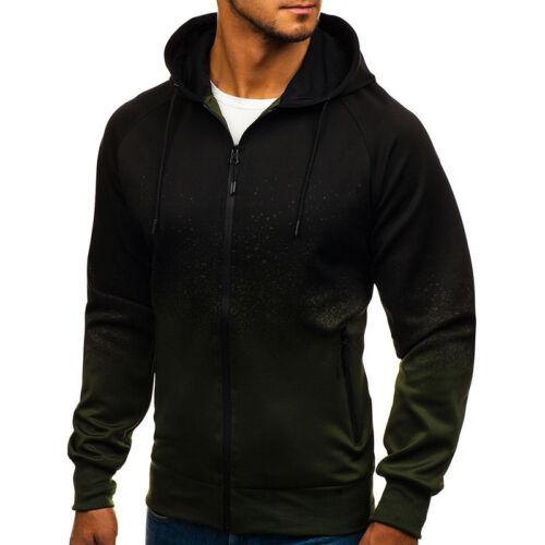 Mens Zip Up Hoodie Hood Jacket Sweatshirt Casual Gym Hooded Coats Casual Outwear