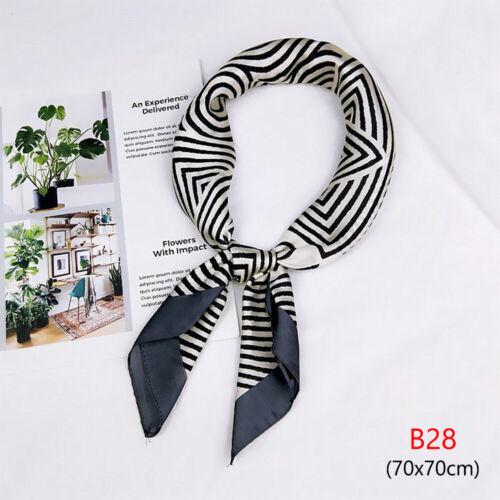 Neck Tie Hairband Wraps Square Scarf Dot Print Silk Feel Satin Small Scarves