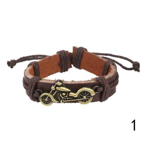 Pas cher Punk Rock Moto Noir En Cuir Bracelet Hommes Corde VENTE VENTE Vint V1X8