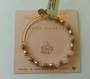 ce6285ec45046 Details about Alex and Ani ROSE QUARTZ Russian Gold Beaded Bangle New W  /Tag Card & Box