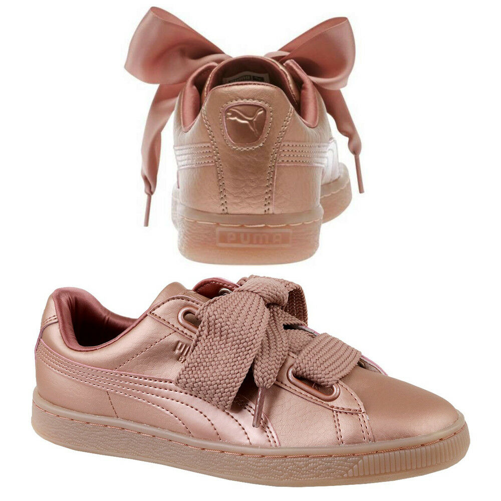 Puma Basket Heart Femme Trainers Lace Up Copper Rose Leather 365463 01 P2