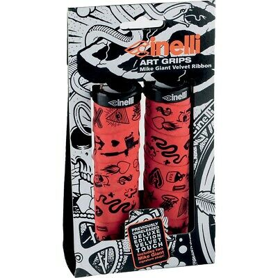 Red//Black CINELLI MPMGR Cinelli X Mike Giant Art Design Bicycle Grips