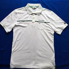 BMW Men's Polo Shirt Size M Medium White Green Black Golf Sport Car Logo Cotton