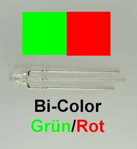 LED 3mm Klar Bi-Color Rot Grün Zweifarbig 3-Pin C2924