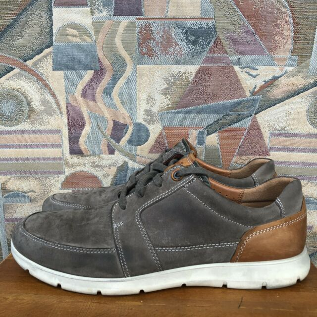 ECCO Gray Brown Leather Lace Up Walking Comfort Shoes Mens Sz 47 EU 13-13.5 US