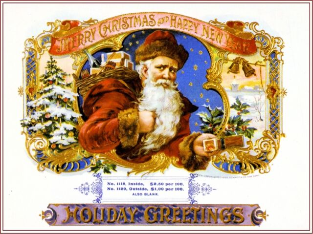 Merry Christmas Santa Claus Holiday Vintage Cigar Box Crate Inner Label Print