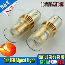2pcs 1157 3535 8SMD with Lens P21/5W LED Brake Lights BAY15D 12-24V DC 900lm Red