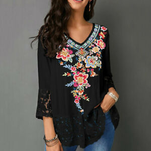 Women-Casual-V-Neck-Floral-Lace-Patchwork-3-4-Sleeve-Shirt-Blouse-Top-Clever