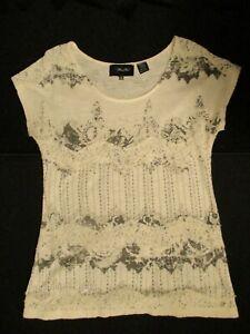 Miss-Me-Women-039-s-Lace-T-Shirt-Top-Size-Medium-Ivory